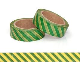 Washi lepilni trak - poševne zeleno-rumene črte