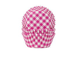 Papirčki za mafine - hot pink karo