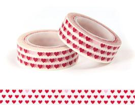 Washi lepilni trak - majhni rdeči srčki