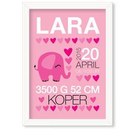 """Individualizirana grafika ob rojstvu deklice z motivom slončka in srčkov """"Lara"""""""