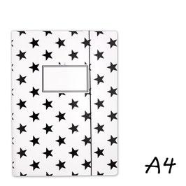 Mapa A4 - bela s črnimi zvezdami