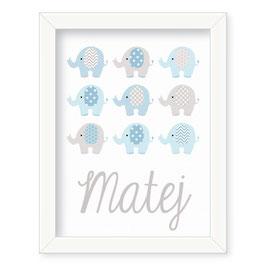 """Individualizirana otroška grafika z motivom slončkov """"Matej"""""""