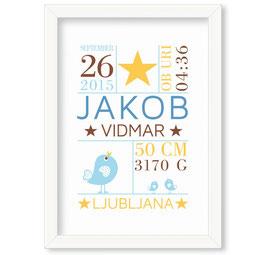 "Individualizirana grafika ob rojstvu fantka z motivom krone ""Jakob"""