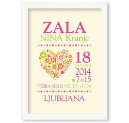 """Individualizirana grafika ob rojstvu deklice z motivom cvetličnega srčka """"Zala"""""""