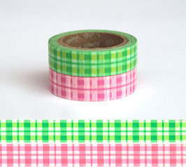 Set dveh washi lepilnih trakov - Tartan Green-Pink
