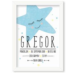 """Individualizirana grafika ob rojstvu dečka z motivom zvezde """"Gregor"""""""