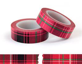 Washi lepilni trak - rdeč škotski vzorec (črn)