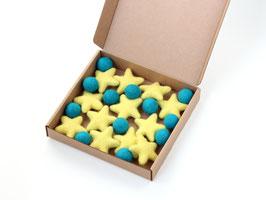 Set zvezdic in kroglic iz filca za girlando ali drugo ustvarjanje (mobile, ...)