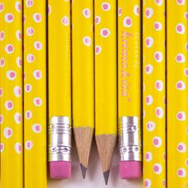 Svinčnik - rumen z belimi pikami