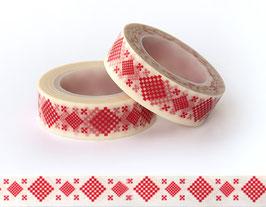 Washi lepilni trak - rdeč izvezen vzorček  na belem ozadju