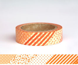 Washi lepilni trak - Flower Patchwork Orange