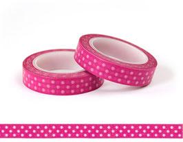 Washi lepilni trak - ozek pink z belimi pikami