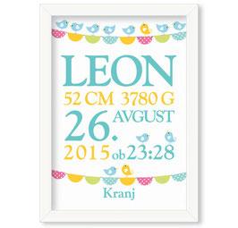 """Individualizirana grafika ob rojstvu fantka z motivom zastavic in ptičkov """"Leon"""""""