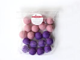 Set 20 barvnih kroglic iz filca - roza-vijolične