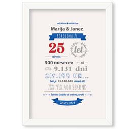 Individualizirana grafika ob srebrni poroki - v modri barvi