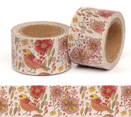 Washi lepilni trak - širok – vzorec s cvetlicami in ptički