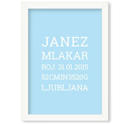 "Individualizirana grafika ob rojstvu fantka, serifni napis na barvnem ozadju ""Janez"""