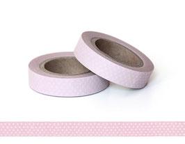 Washi lepilni trak - ozek baby roza z belimi pikami
