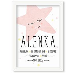 """Individualizirana grafika ob rojstvu deklice z motivom zvezde """"Alenka"""""""