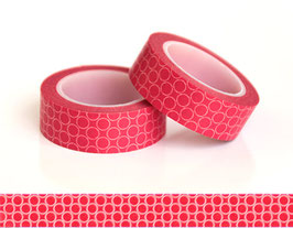 Washi lepilni trak - rdeč z roza krogi