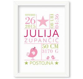 """Individualizirana grafika ob rojstvu deklice z motivom krone """"Julija"""""""