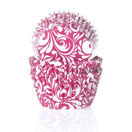 Papirčki za mafine - roza z viticami