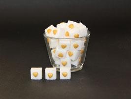 Würfelzucker mit goldenen Herzen, 50 Stück im Beutel