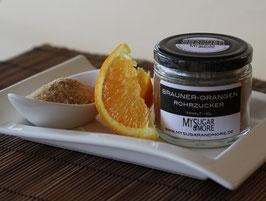 Brauner Rohrzucker mit Orange 100g im Glas (Inhalt: Rohrzucker, Bio-Orangenschale)