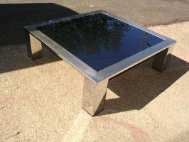 Table basse carré en acier chromé et miroir bleuté