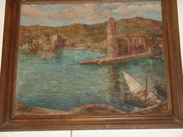Tableau vue de Collioure par F.VILA 1910