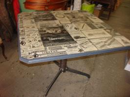 Table panoramique et pied en acier industriel (création)