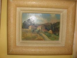 Tableau huile sur bois maison de campagne vers 1940