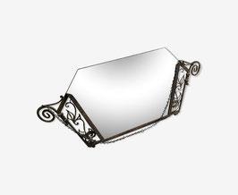 Miroir en fer forgé vers 1925 suspente par chaîne acier 91x48cm
