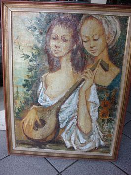 Grand tableau huile au couteau sur toile vers 1950 -Jean JANSEM-