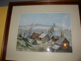 Tableau gouache sur papier vue de hameau de montagne par A.ARAGON