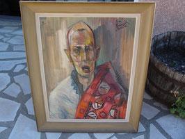 Tableau vieil homme par Jean Dominique ROCCA huile sur bois 1966