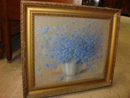 Tableau nature morte aux bleuets par  P . SAUNIER fin du XIX siècle