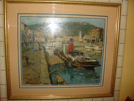Tableau le remorqueur au port de Sète Eric BATTISTA
