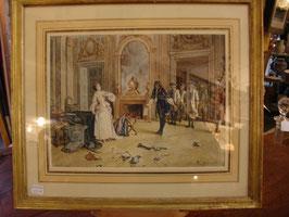 Tableau H.BISSON d'après GIRARDET Salon 1888 aquarelle magnifique