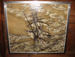 Tableau en relief 1970 Bateau en mer agitée