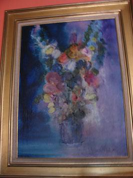 Huile sur toile Grand Bouquet de fleur signé