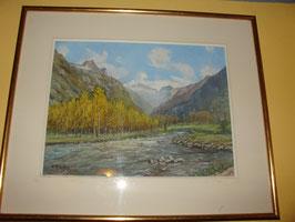 Tableau gouache sur papier vue de bord de rivière par A.ARAGON