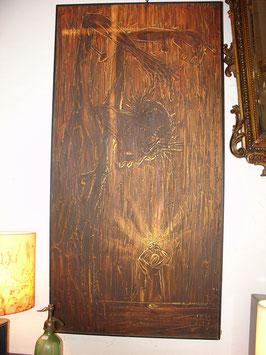Tableau Christ en croix vers 1970 huile sur toile signée CHENGE ( Berquin )
