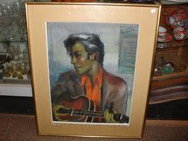 """Tableau """"Guitariste""""par Jean Dominique ROCCA pastel sec"""