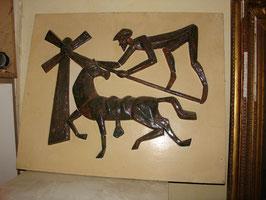 """Tableau en céramique vers 1950 """"Don Quichotte contre les moulins"""""""
