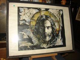 """Tableau Russe """"Christ""""gouache sur papier vers 1970"""