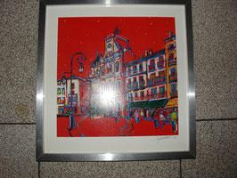 """Lithographie """" hotel de ville de Béziers""""par Jacques CHARVET en 2004"""