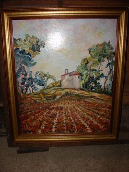 Huile sur toile Maxence LODER 'La chapelle St Martin' Mauguio 34