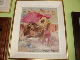 Tableau huile sur toile signature a identifier vers 1960