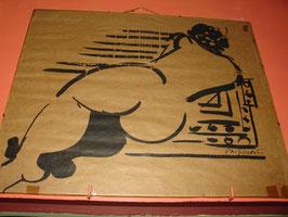 Encre de chine sur papier Kraft par Danielle PRIJIKORSKI (1942)